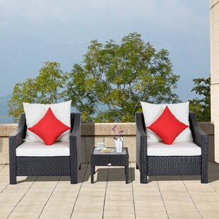 Arnott Outdoor 3 Piece Rattan Conversation Set with Cushions