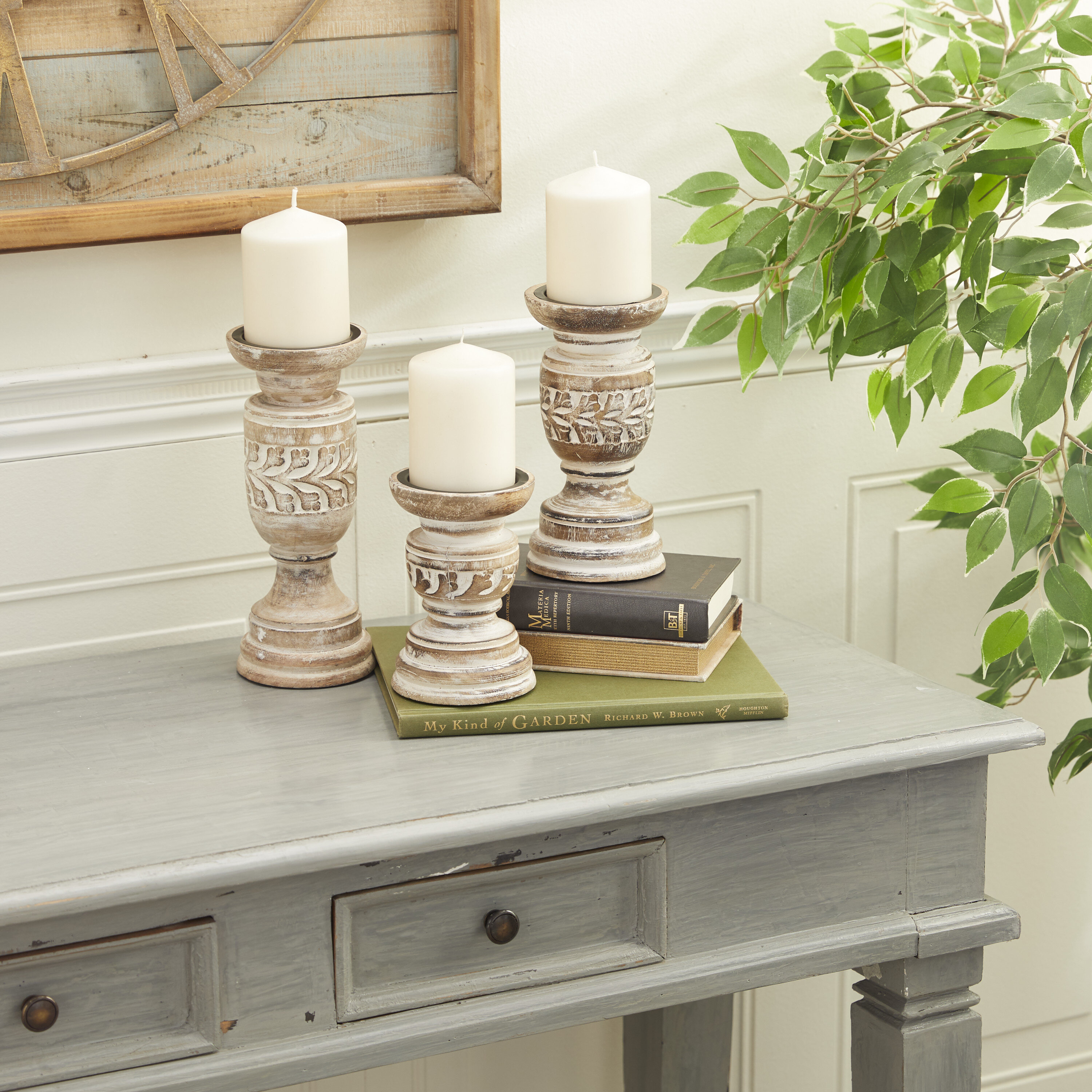 One Allium Way 3 Piece Solid Wood Tabletop Candlestick Set Reviews Wayfair