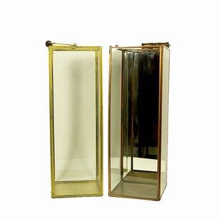 World Menagerie Tall Square Glass/Metal Lantern (Set of 2)