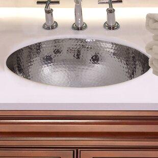 Order Hand Hammered Stainless Steel Circular Undermount Bathroom Sink with Overflow ByNantucket Sinks