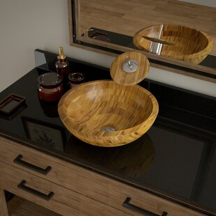 Best Bamboo Circular Vessel Bathroom Sink with Faucet ByMR Direct