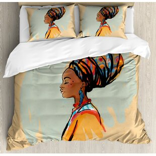 African Watercolor Profile Portrait of Native Woman with Ethnic Hairdo and Earrings Duvet Cover Set