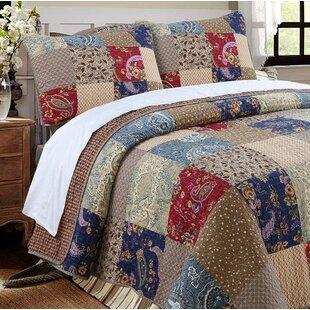 Hyler Patchwork Cotton 3 Piece Reversible Quilt Set