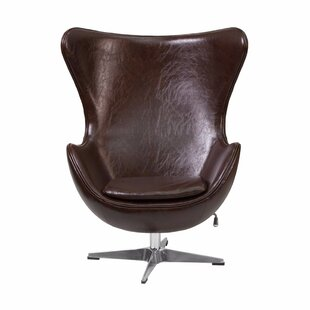 Orren Ellis Tod Leather Swivel Lounge Chair