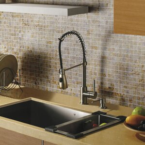 VIGO Brant Single Handle Pull-Down Spray Kitchen Faucet with Soap Dispenser