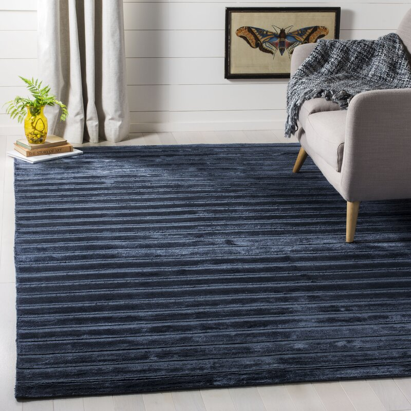 Brayden Studio Maxim Navyblue Striped Rug Wayfair