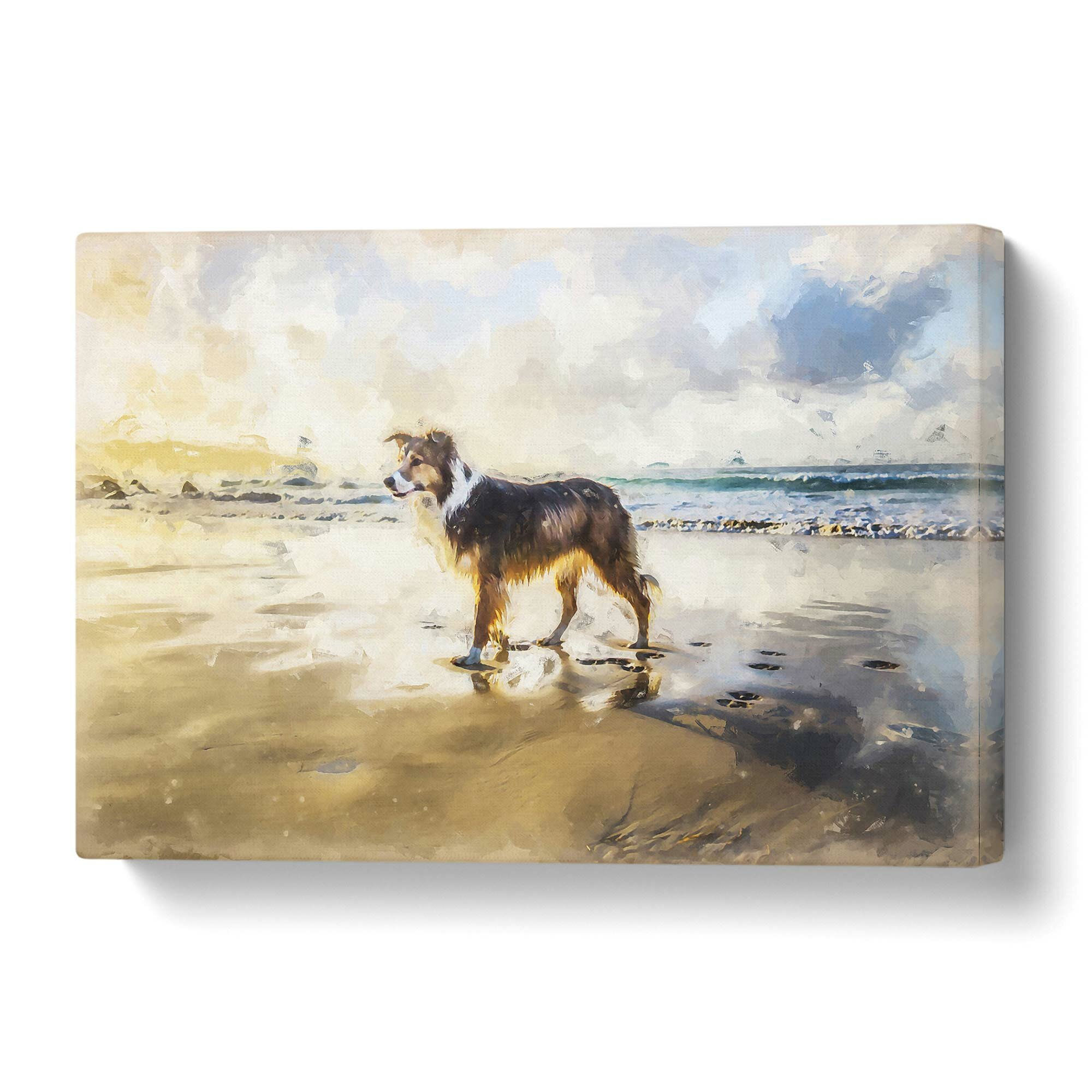 East Urban Home Border Collie Dog At The Beach Painting On Wrapped Canvas Wayfair Co Uk