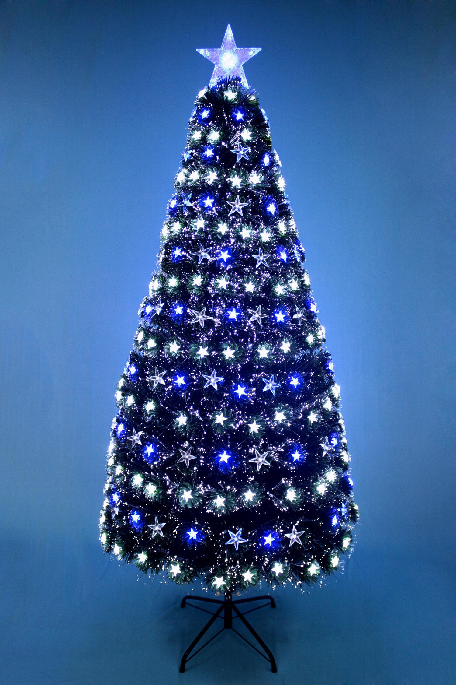 The Holiday Aisle Fiber Optic Stars 6 Green Pine Artificial Christmas Tree Wayfair