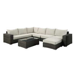 Brayden Studio Delmont 7 Piece Rattan Sectional Set with Cushions