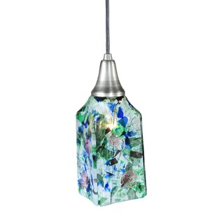 Metro Fusion Fiddleheads Draped Glass 1-Light Square/Rectangle Pendant by Meyda Tiffany