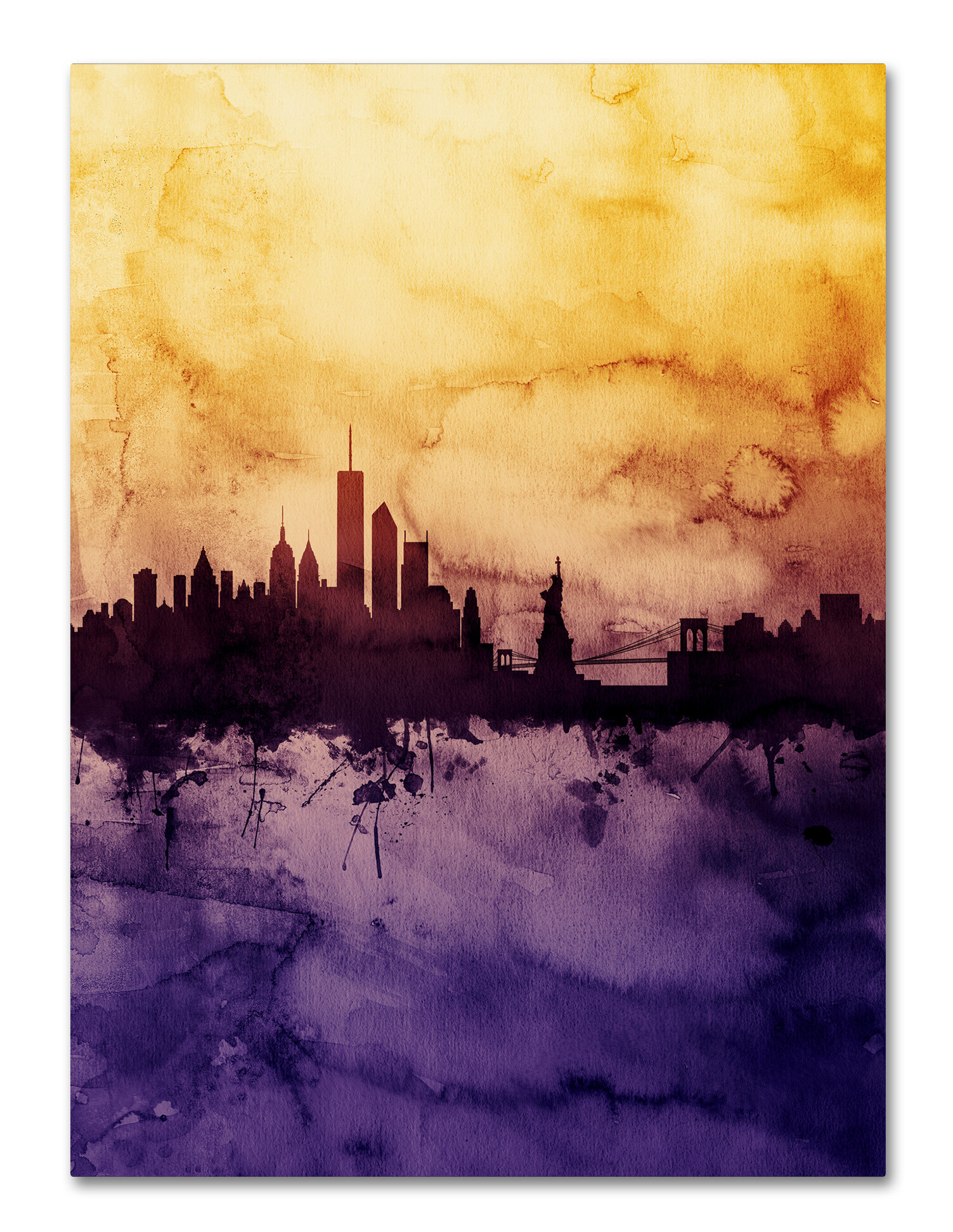 Ivy Bronx \'New York Skyline Tall Yellow\' Graphic Art on Wrapped ...