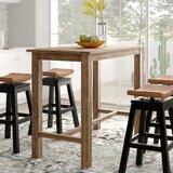 Table de salle à manger en bois d'hévéa massif à hauteur de comptoir Allister