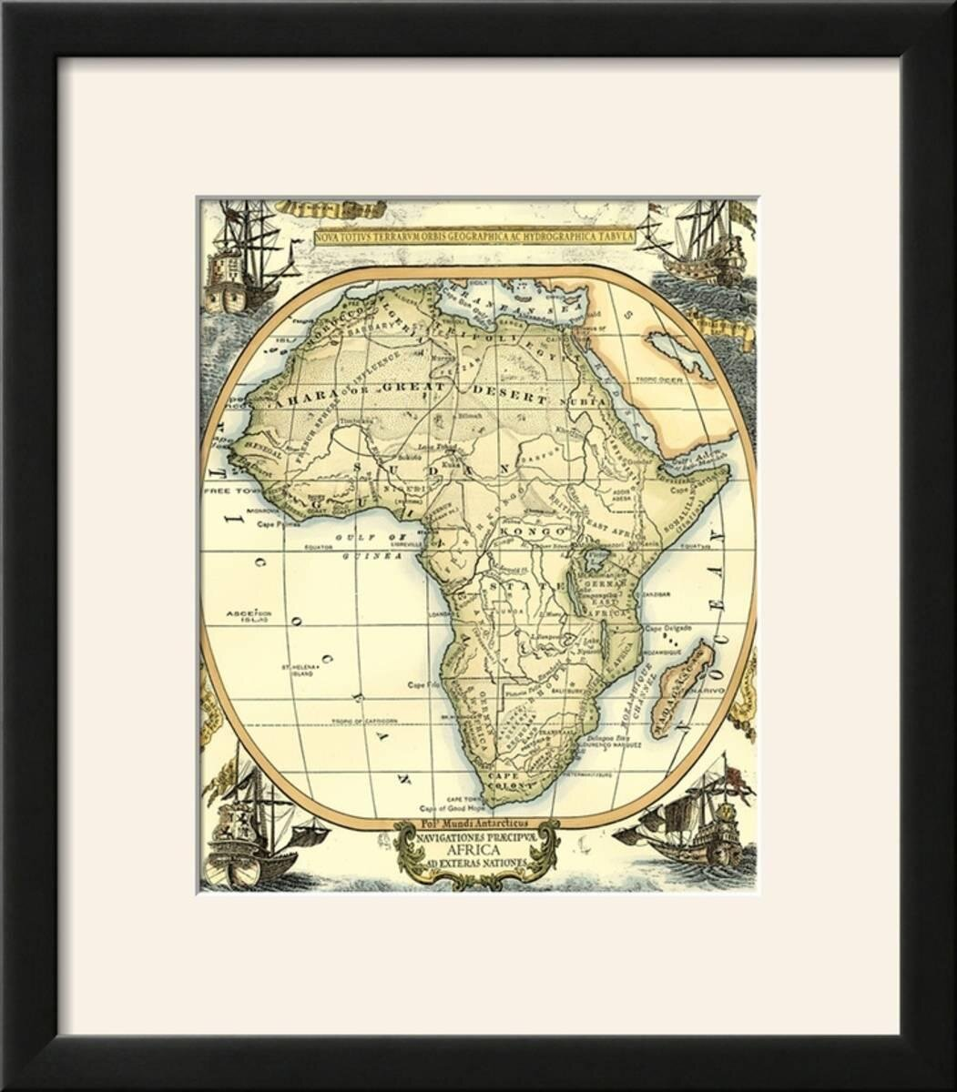 Charlton Home \'Nautical Map of Africa\' Framed Graphic Art Print ...