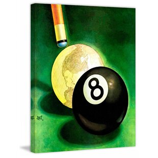 World as Cue Ball by Emmett Watson Painting Print on Wrapped Canvas by Marmont Hill