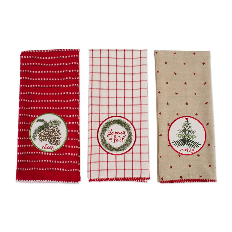 Asst Noel Embellished 3 Piece Dish Cloth Set