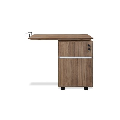 Comm Office Bergerson 27 H x 32 W Reversible Desk Return Finish: Walnut
