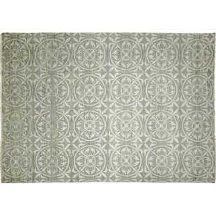 One-of-a-Kind Lona Hand-Knotted Light Rectangle Green Area Rug ByIsabelline