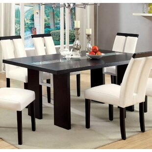 Reviews Greenview Contemporary Glass-Insert Solid Wood Dining Table By Orren Ellis