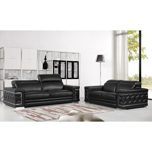 Coupon Nicolette Luxury Italian Leather 2 Piece Living Room Set (Set of 2) by Orren Ellis Reviews (2019) & Buyer's Guide