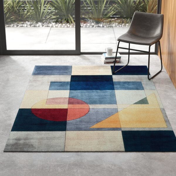 Robie Hand Tufted Wool Blue Red Yellow Area Rug Reviews Allmodern