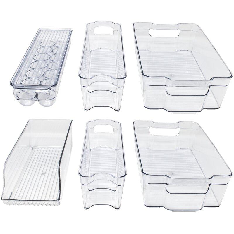 Set of 3 Kitchen Refrigerator Handled Organizer Fridge Storage Box Grey