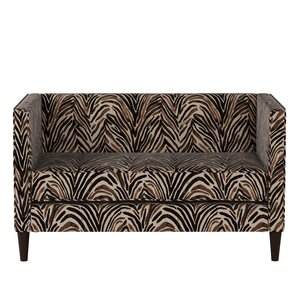 Genevie Five Button Washed Zebra Loveseat by Bloomsbury Market