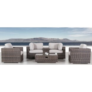 Nolen 6 Piece Rattan Sectional Set with Cushions