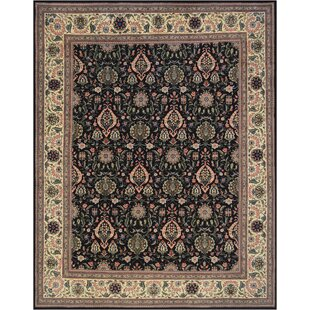 One-of-a-Kind Tabriz Fine Hand-Knotted Wool Forest Black Indoor Area Rug Mansour
