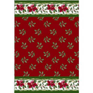 Best Christmas Floral Holiday Print Shower Curtain Set ByCarnation Home Fashions