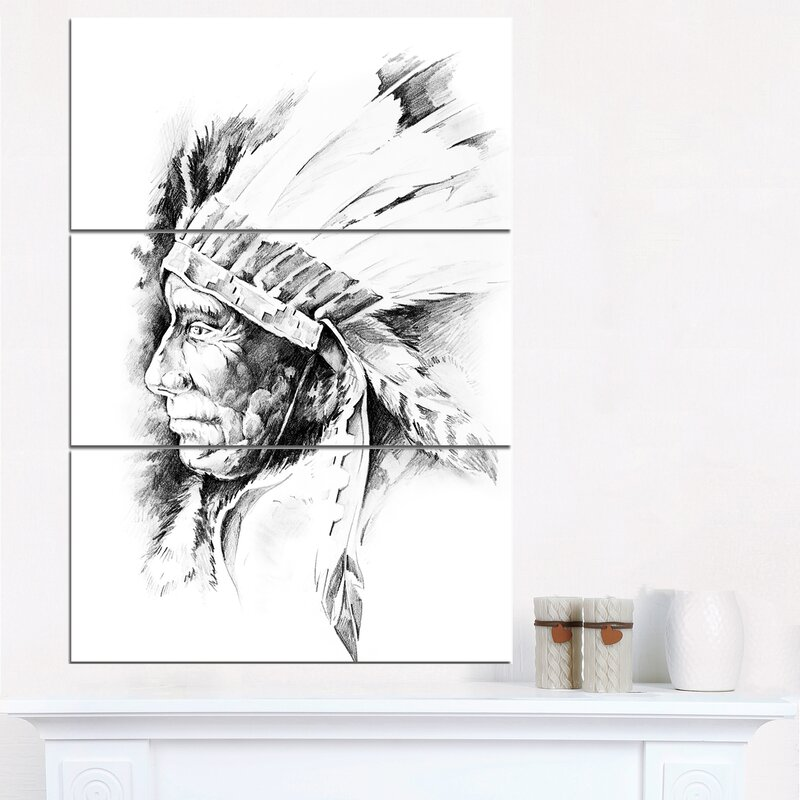 DesignArt American Indian Head Tattoo Black and White - 3 Piece Wall ...