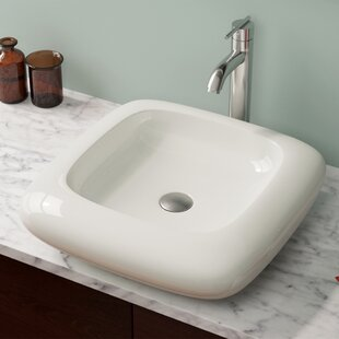 Read Reviews Pillow Top Vitreous China Square Vessel Bathroom Sink ByMR Direct