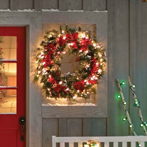 pre lit home spun 30 lighted wreath - Lighted Outdoor Christmas Wreaths