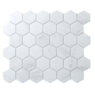 Value Series Hexagon 2'' x 2'' Porcelain Mosaic Tile in Matte Carrara