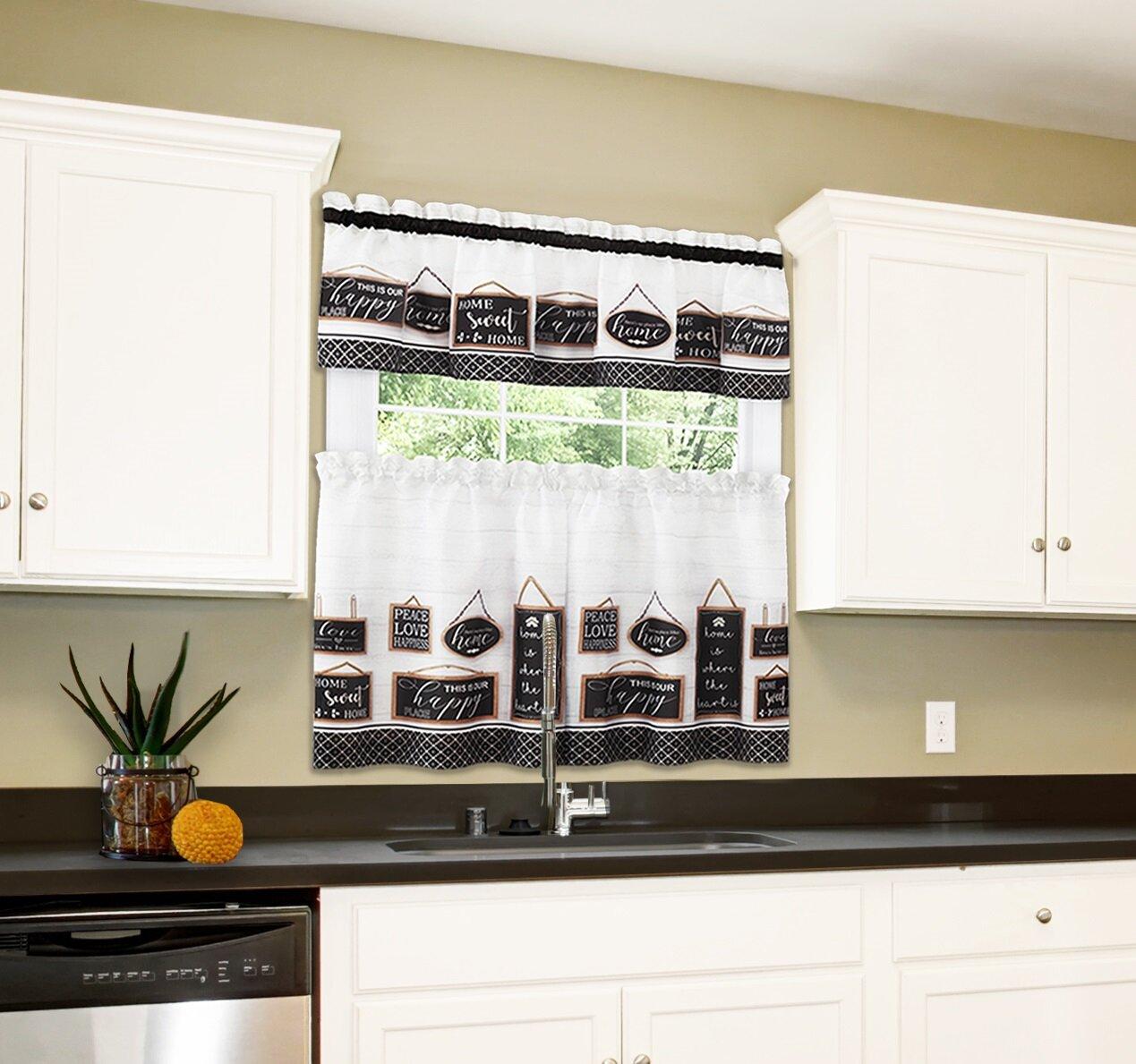 Gracie Oaks Simple Elegance By Ben Jonah Modern Farmhouse Tier And Valance Window Curtain Set 58x36 Black Wayfair Ca