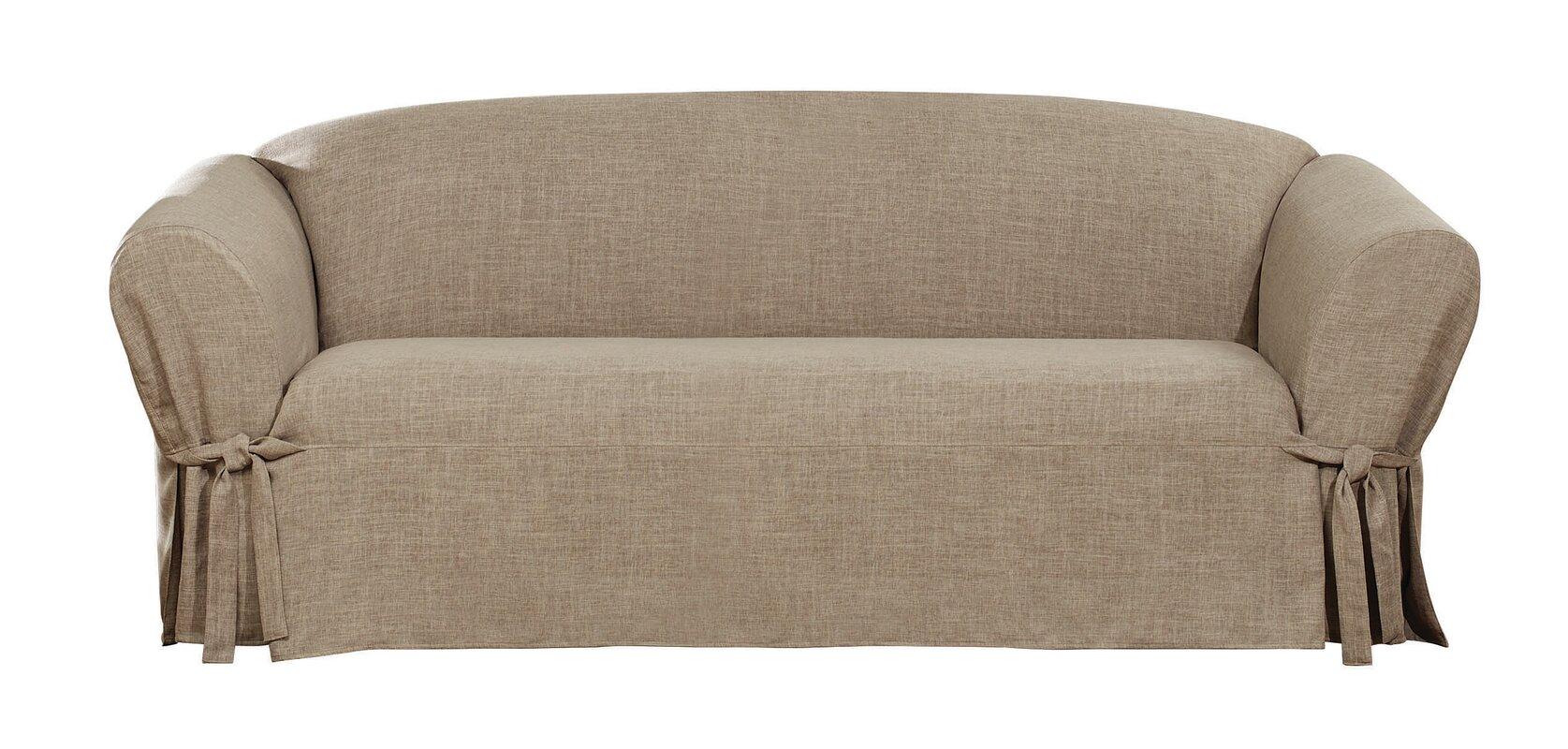 Textured Linen Box Cushion Sofa Slipcover