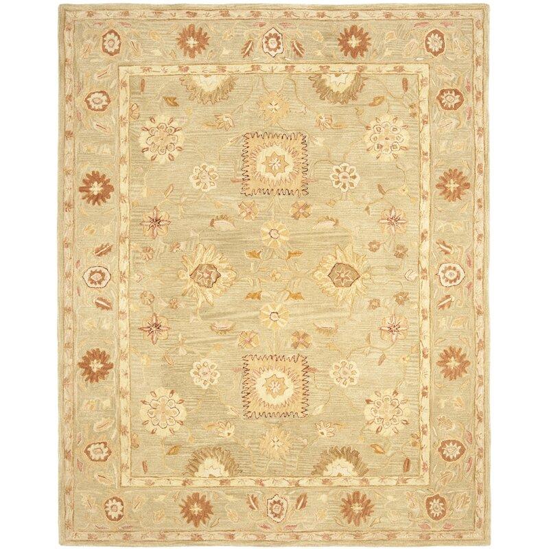 Charlton Home Tingley Oriental Handmade Tufted Wool Sage Area Rug Reviews Wayfair