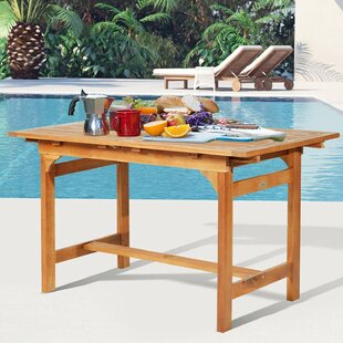 Wiley Acacia Wood Slat Rectangular Extendable Outdoor Dining Table