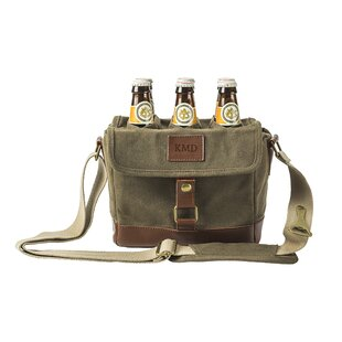 Personalized Insulated Waxed Canvas 6-Bottle Beer Carrier