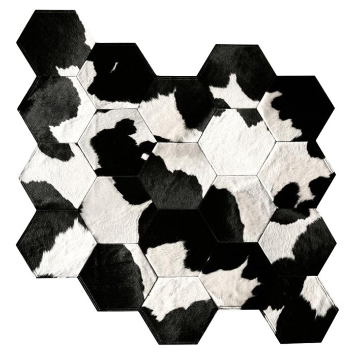 Pure Rugs Patchwork Animal Print Handmade Cowhide Black White Area Rug Perigold