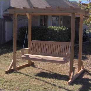 August Grove Donath Cedar Pergola Style Arbor Porch Swing with Stand