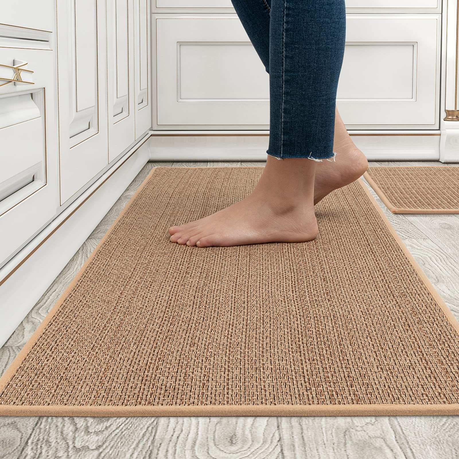 Latitude Run Kitchen Rugs And Mats Washable 2 Pcs Non Skid Natural Rubber Kitchen Mats For Floor Runner Rugs Set For Kitchen Floor Front Of Sink Hallway Laundry Room Wayfair