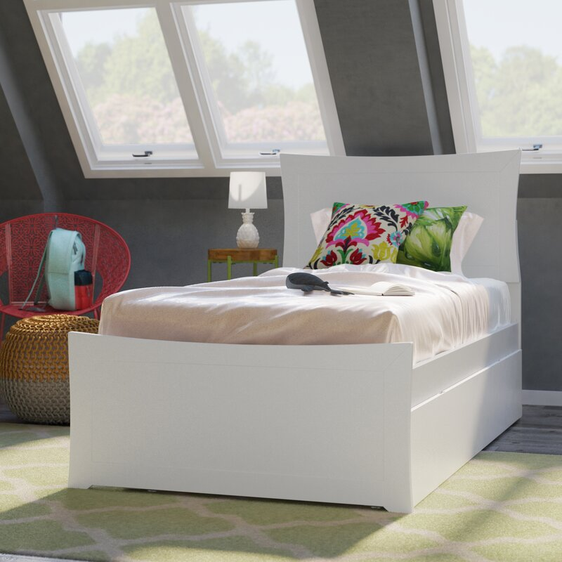 Ralls Platform Bed with Trundle Bed Frame Color: White, Size: Full