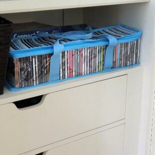 Evelots CD/DVD Storage Bag-2 in 1-Hold 48 CDs&16 DVDs Total- Blue Stripes, Set/2 (Set of 2)