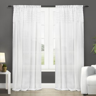 Paulin Solid Sheer Rod Pocket Curtain Panels (Set of 2) by Lark Manor