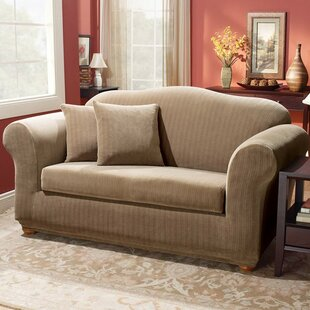 Stretch Pinstripe Box Cushion Loveseat Slipcover