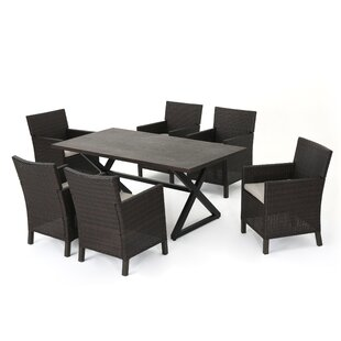 Lusher Outdoor 7 Piece Wicker Dining Set