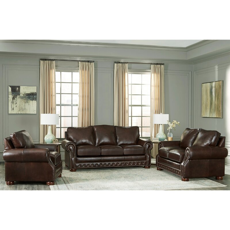 Canora Grey Pelaez 3 Piece Leather Living Room Set | Wayfair