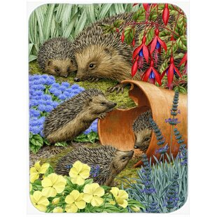 Review Hedgehogs in the Flower Pot Glass Cutting Board By Caroline's Treasures