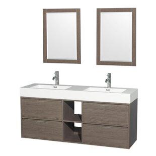 Daniella 60 Double Gray Oak Bathroom Vanity Set with Mirror by Wyndham Collection