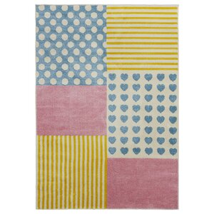 Carlwirtz Patchwork Pink/Yellow/Blue Area Rug